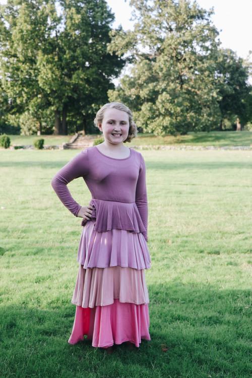 Ruffled Maxi Dress in Mauve Tones