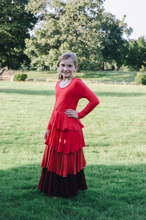Ruffled Maxi Dress in Rust Tones