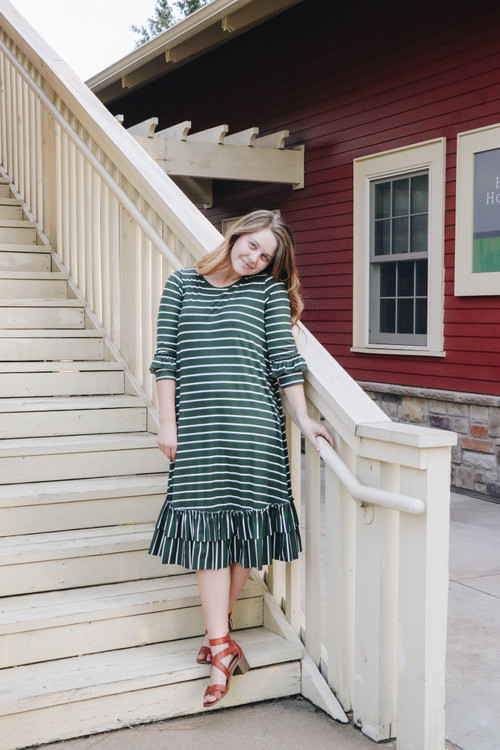 Reflective Moments Ruffle Swing Dress *Olive Stripe*