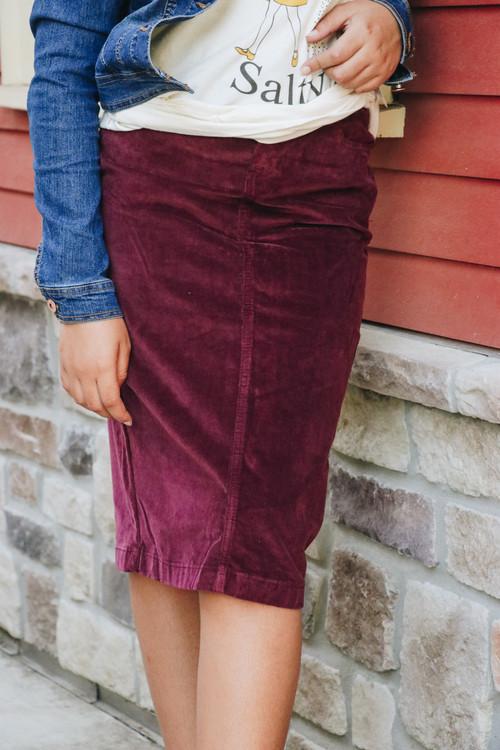 Aubrey Corduroy Skirt *Burgundy* Final Sale