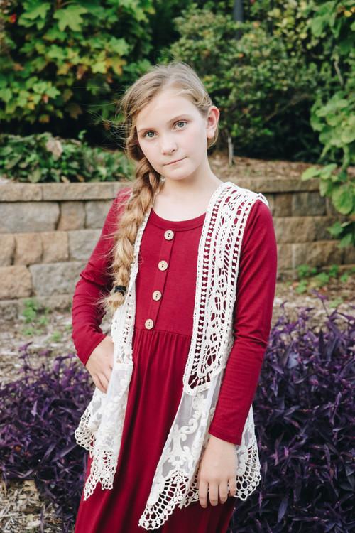 Addison Girl's Lace Vest