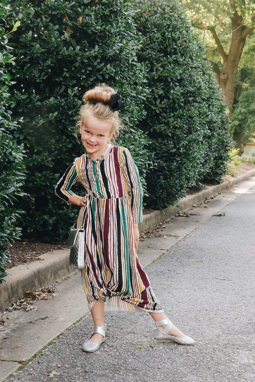 Harley Burgundy Multistripe Maxi Dress Girls