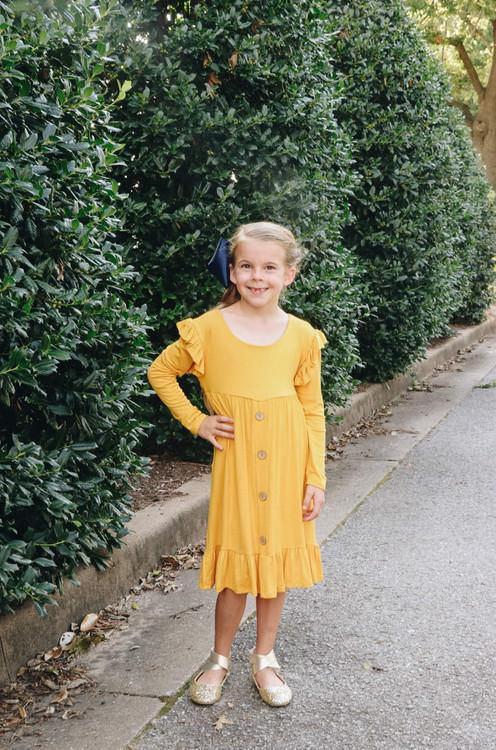 Pippa Mustard Ruffle Dress Girls