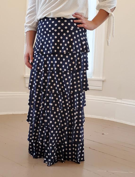 7 Layer Ruffle Maxi Skirt Navy Polka Dot