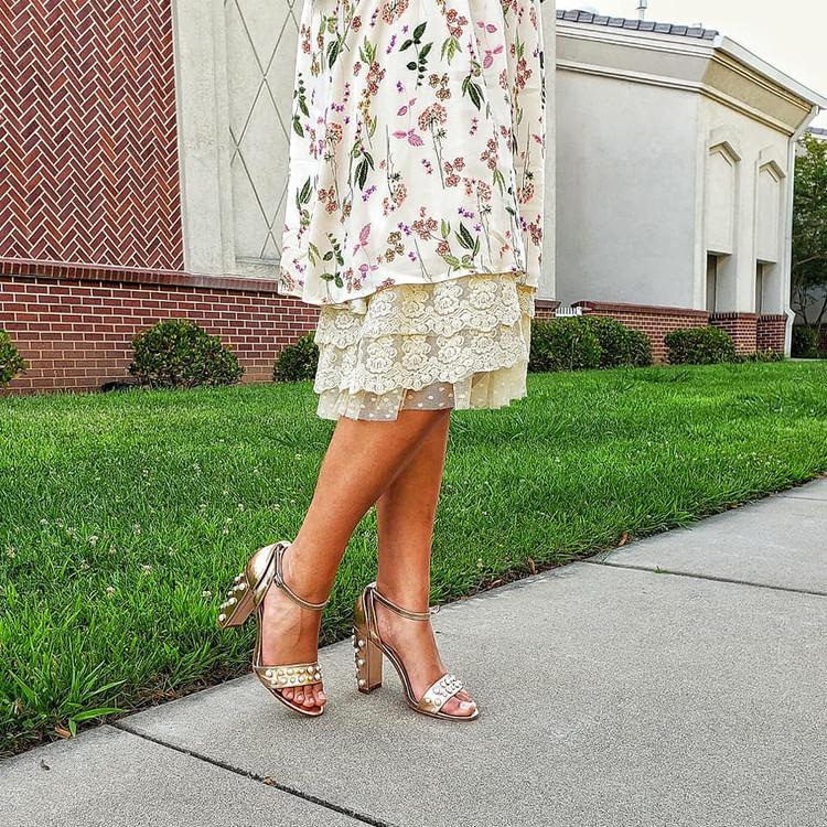 Skirt Slip Extender Lace Dot Mesh Ivory