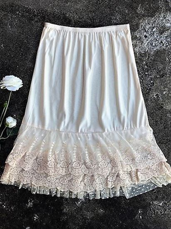 Skirt Slip Extender Lace Dot Mesh Cream