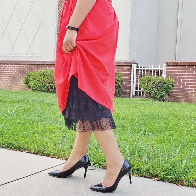 Skirt Slip Extender Lace Dot Mesh Black