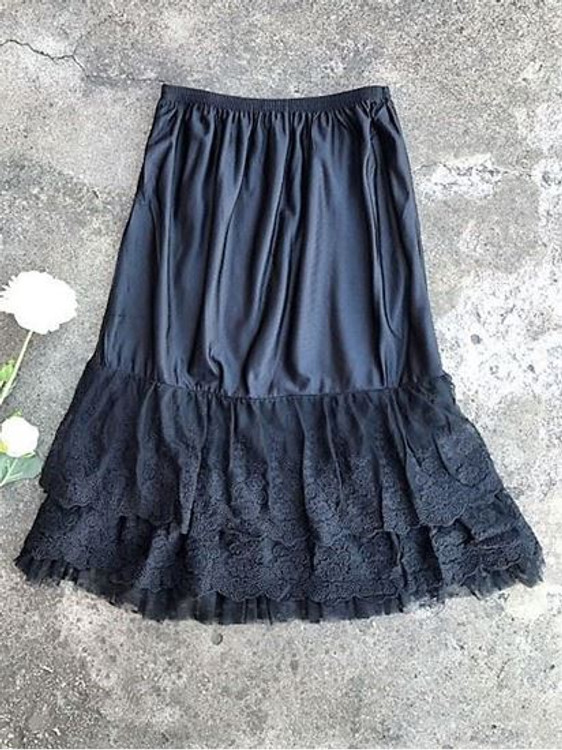 Skirt Slip Extender Lace Dot Mesh Black