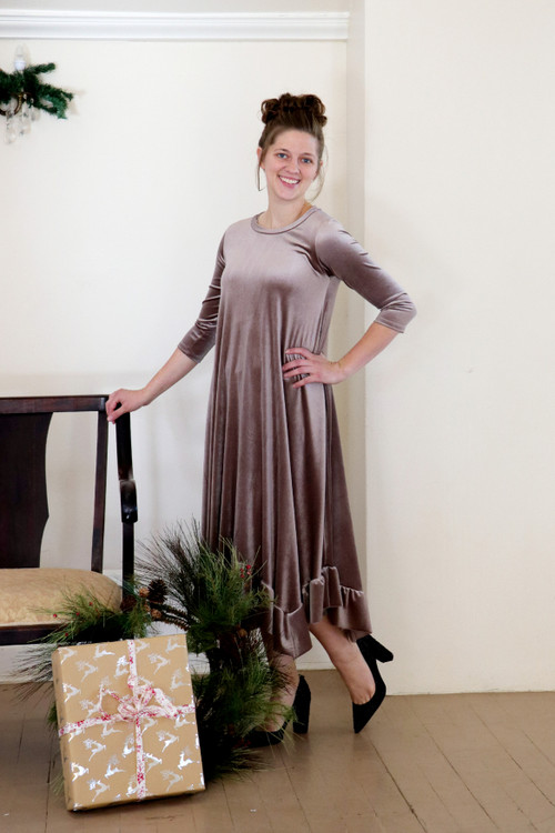 Willow Swing Dress Taupe Velvet *Womens* Final Sale