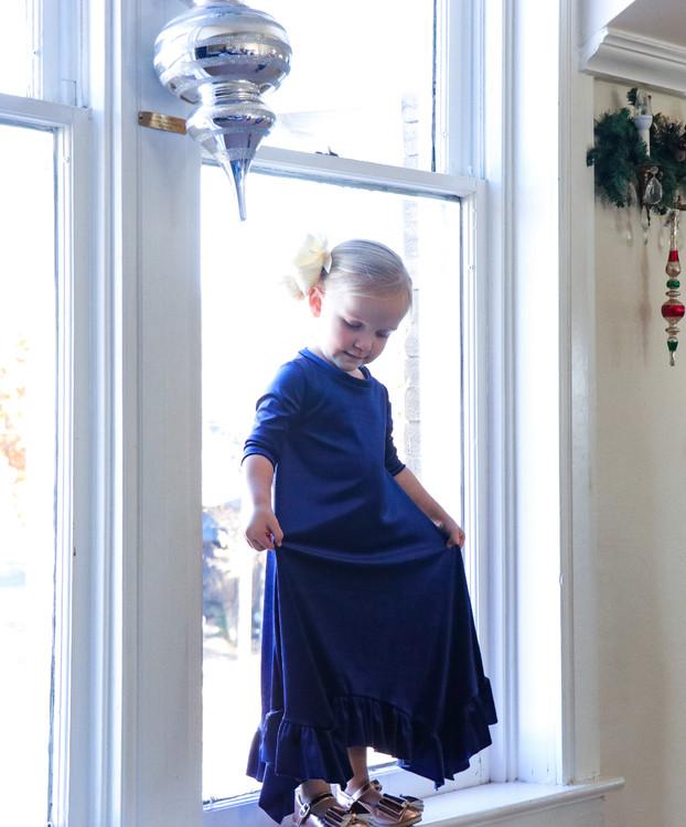 Willow Swing Dress Blue Velvet *Toddler Girls*
