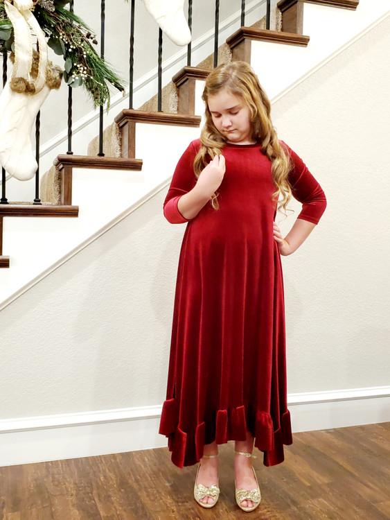 Willow Swing Dress Burgundy Velvet *Girls*