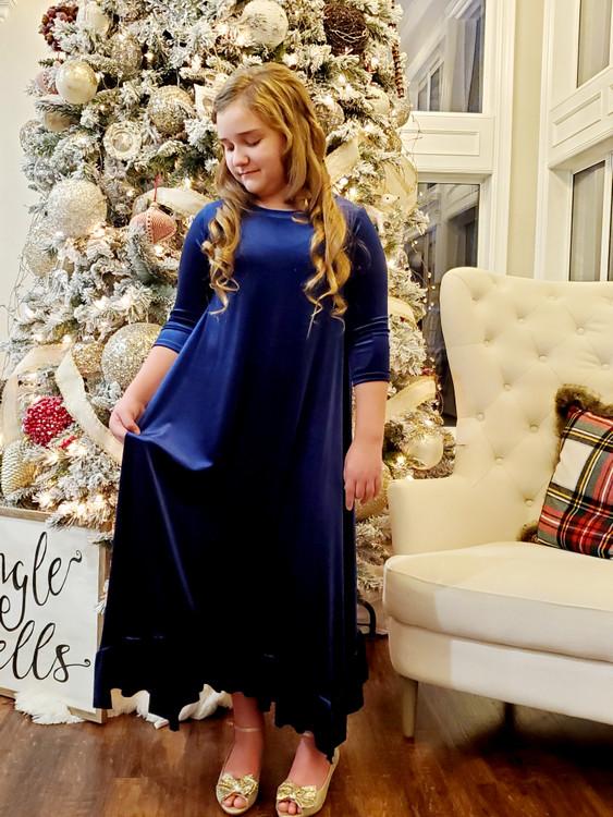 Willow Swing Dress Blue Velvet *Girls* Final Sale