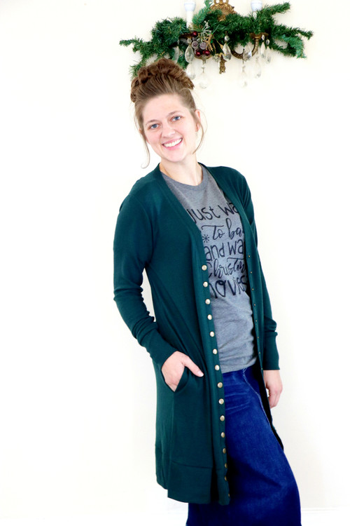 Cassidy Long Boyfriend Snap Cardigan *Evergreen* Final Sale