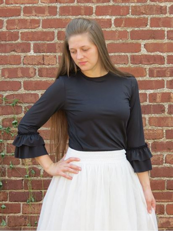 Andrea Ruffle Layering Shirt Black Brushed