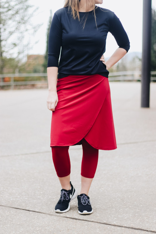 Wrapped Athletic Skirt * Dark Red*