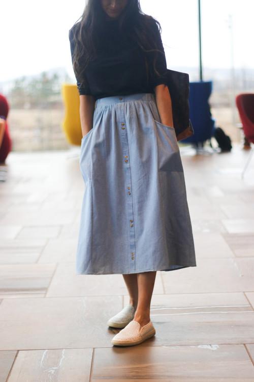 Rylee Chambray Denim Skirt