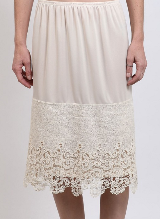 Skirt Slip Extender Scalloped Lace Cream