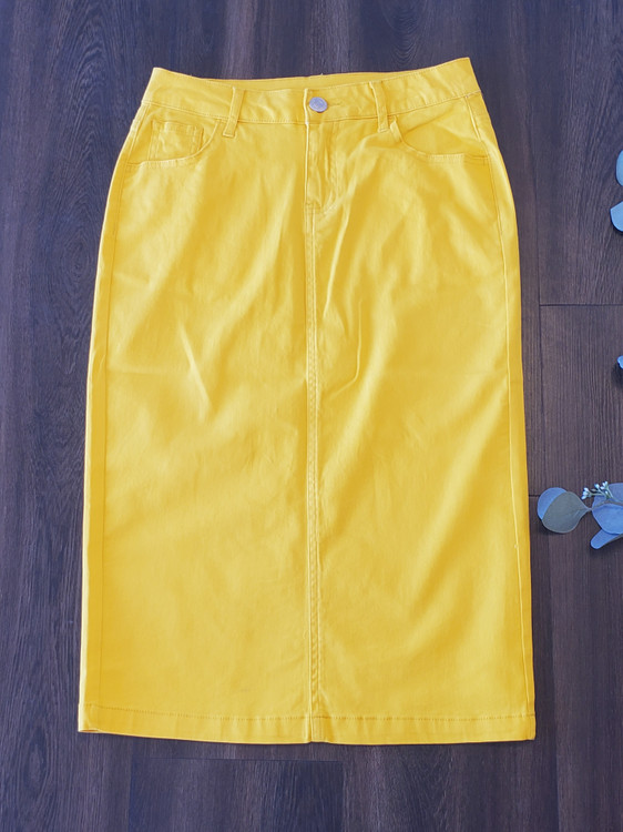 Colored Denim Skirt Yellow *Womens*