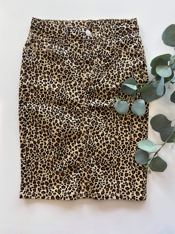 Colored Denim Skirt Leopard *Girls*