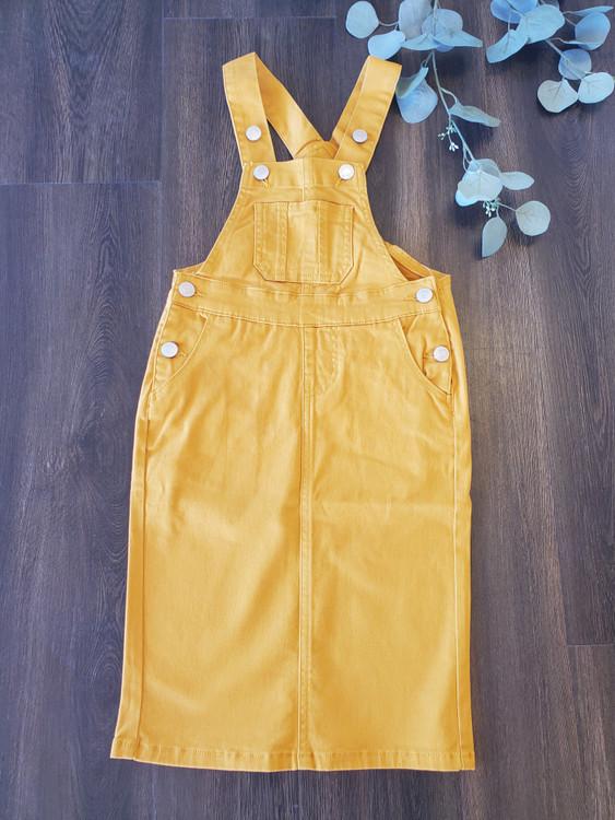 Lena Overall Jumper Dress Mustard Kids