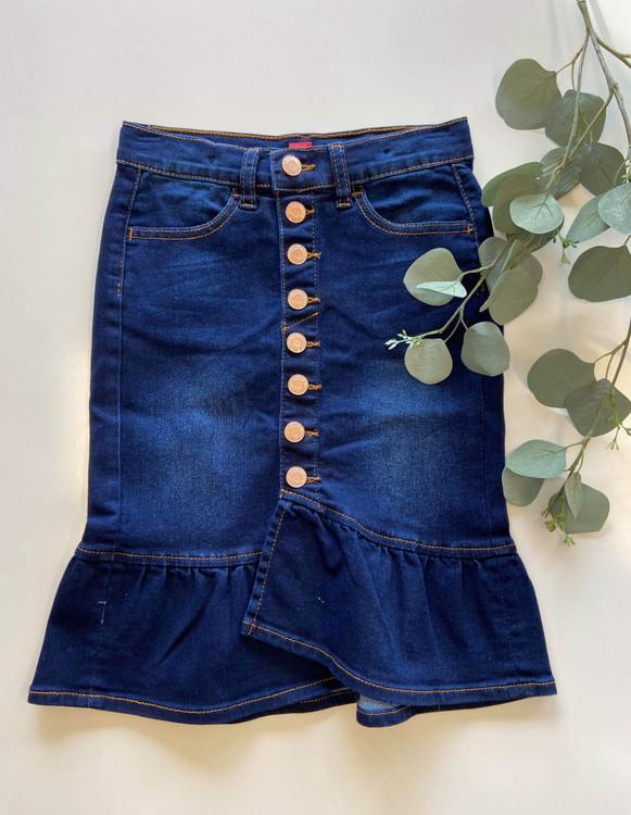 Mia Ruffle Denim Skirt Dark Wash *Girls*