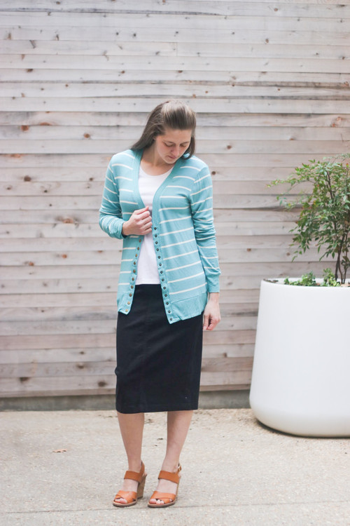 Courtney Snap Cardigan in Mint Stripe