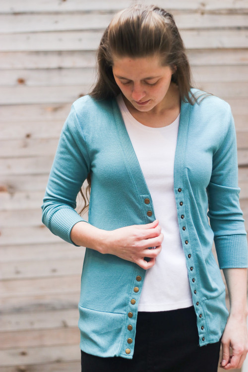 Courtney Snap Cardigan in Ash Mint