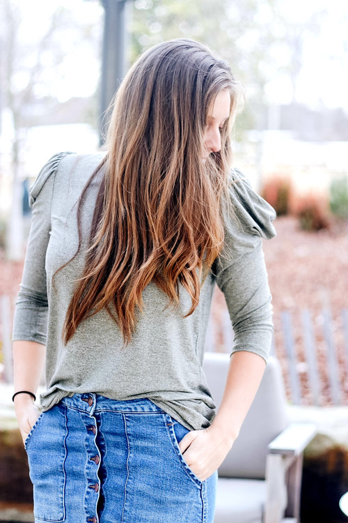 Charlotte Bubble Sleeve Top *Heathered Olive*