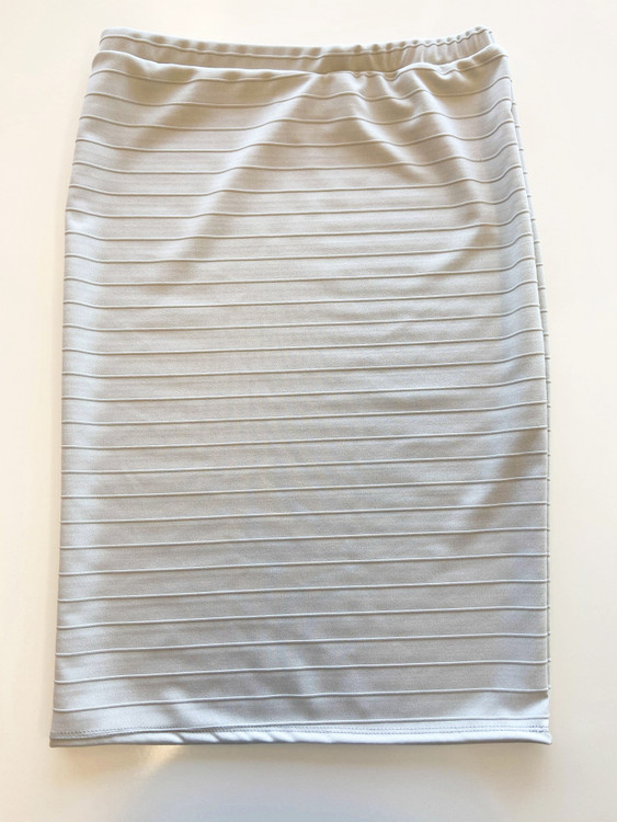 Klassy Girl Longer Length Pencil Skirt Jacquard Stripe *Lt Grey*