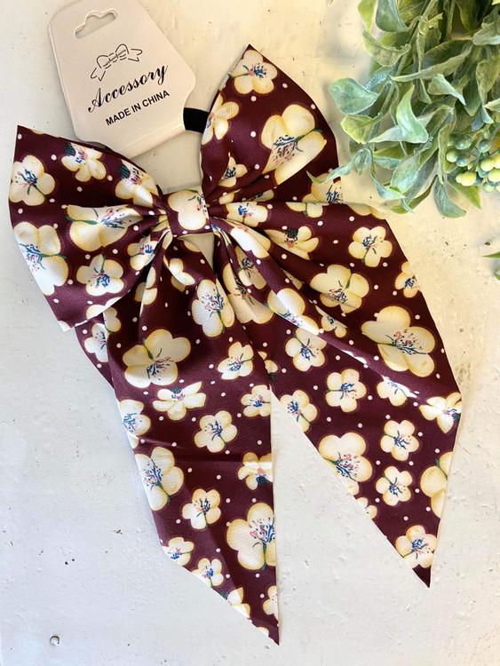 Floral Bow Hair Scrunchie *Plum*