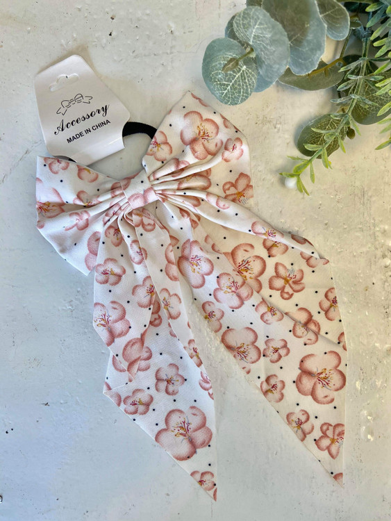 Floral Bow Hair Scrunchie *Ivory*