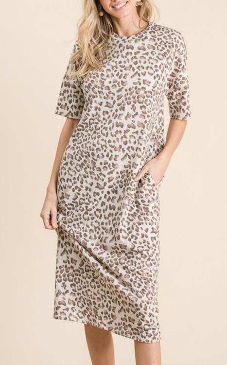 Safari Adventure Leopard Print Tee Dress