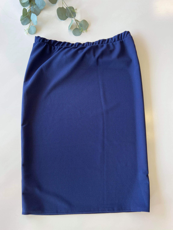 Klassy Girl Original Pencil Skirt Waffle Texture *Navy*