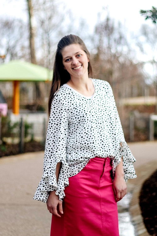 Picture Perfect Dotted Ruffle Top