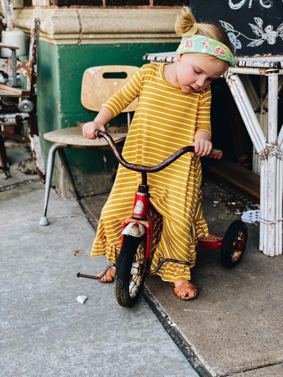 Willow Swing Dress Mustard Stripe *Toddler Girls*