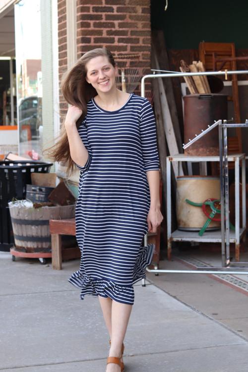 Willow Swing Dress Navy Stripe *Womens*