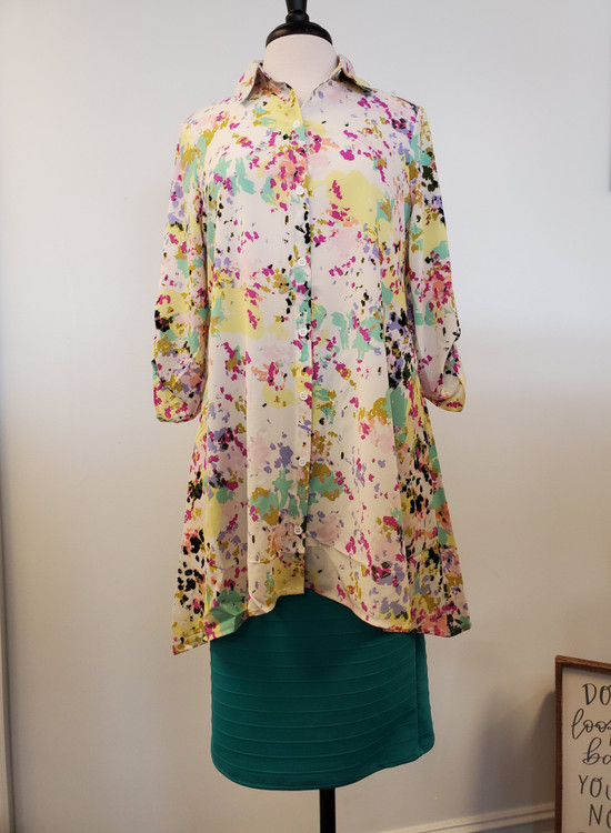 Chelsea High Low Button Shirt Top