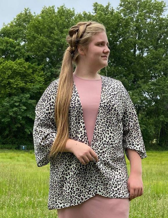 Animal Print Cardigan Kimono Shrug *Grey*