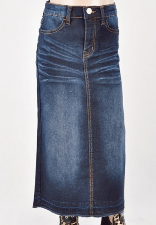 Morgan *Girls* Long Modest Denim Skirt *Dark Wash*