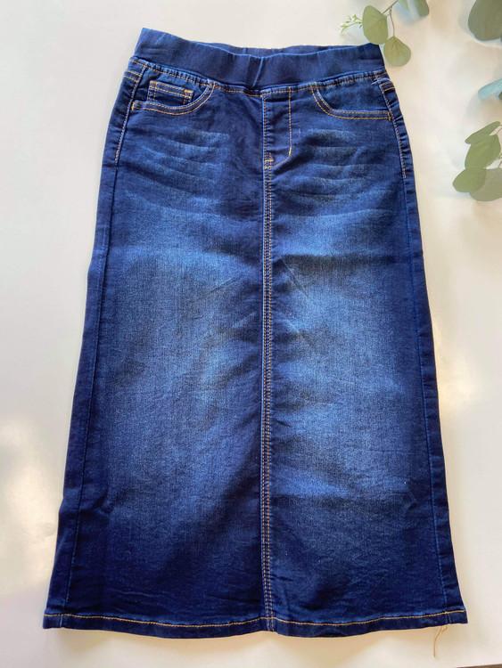 Cassie *Girls* Long Modest Denim Skirt Dark Wash