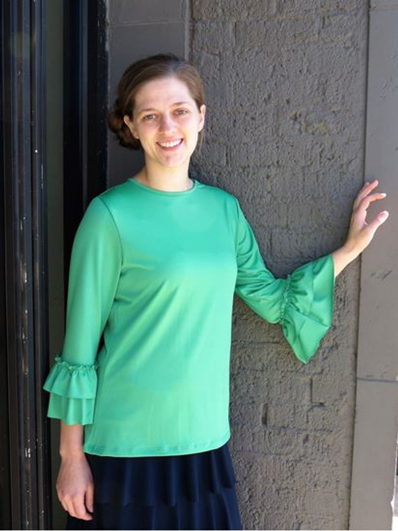 Andrea Ruffle Layering Shirt Kelly Green