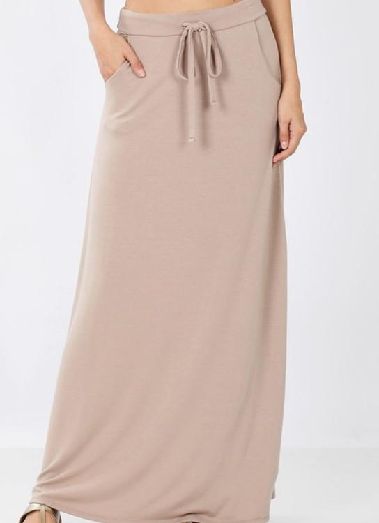Maxi Length Drawstring Skirt *Taupe*