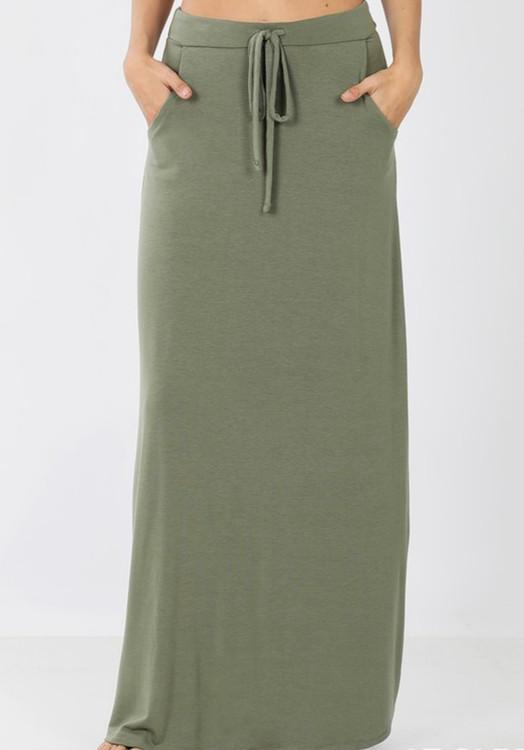 Maxi Length Drawstring Skirt *Sage*