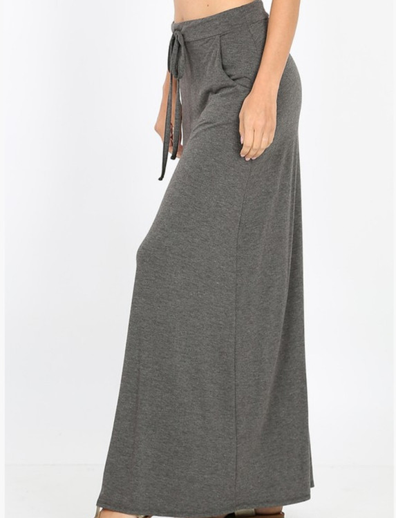 Maxi Length Drawstring Skirt *Charcoal*