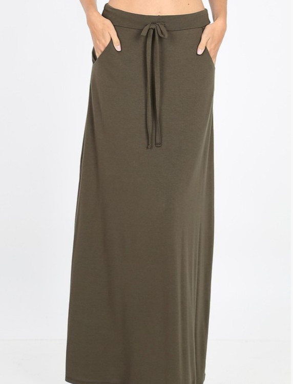 Maxi Length Drawstring Skirt *Olive*