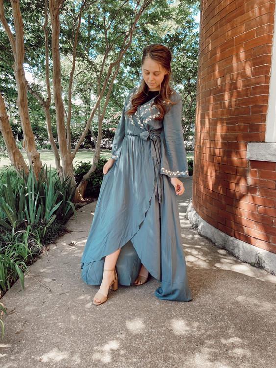 Bekah Wrap Embroidered Maxi Dress