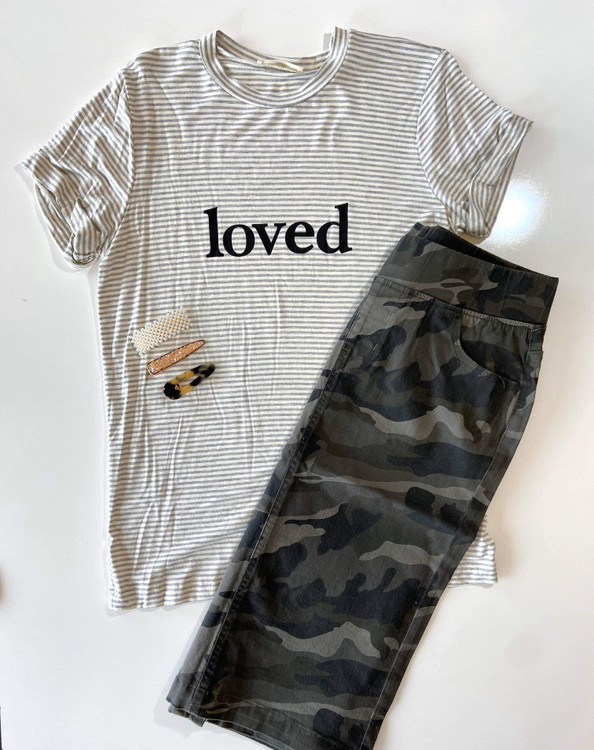 Loved Stripe Grey Graphic Tee