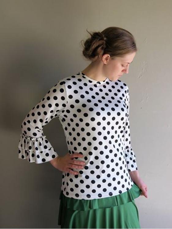 Andrea Ruffle Layering Shirt White Dot