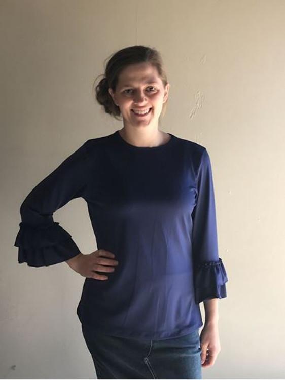 Andrea Ruffle Layering Shirt Midnight Blue