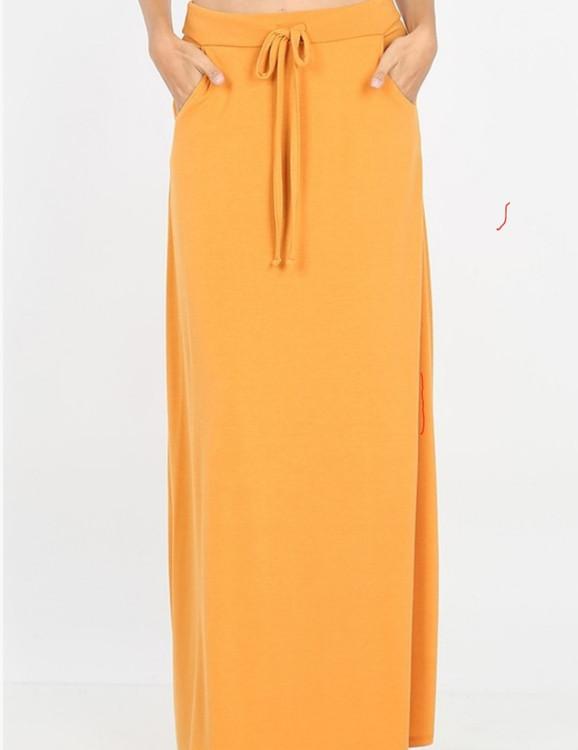 Maxi Length Drawstring Skirt *Ash Mustard*